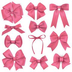 Big set of realistic pink gift bows and ribbons