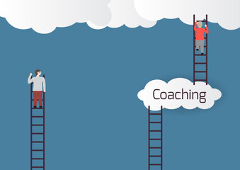 Metaphor about coaching.Vector illustration.