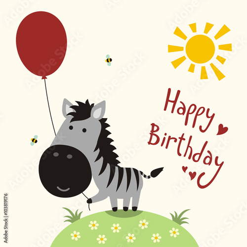 """Happy Birthday Card, Vector Funny Little Zebra With"