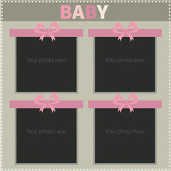 Frame for photos of little girl. Baby photo frame. Vector