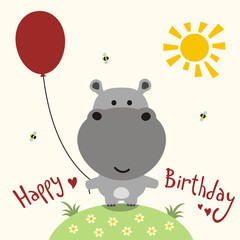 Happy birthday card, vector funny little hippo with balloon, handwritten text
