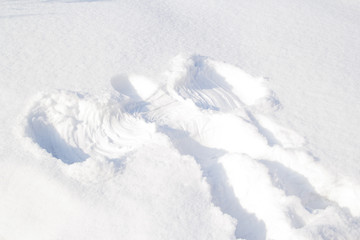 Footprints in the snow angel