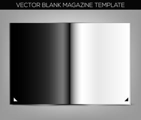Blank magazine template on gray background. Vector illustration. EPS10.