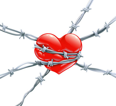 Red heart with highlights wrap enclosed in barbed metal wire symbol of slavery, imprisonment, resistance terror, jealousy, unrequited love and cruelty, cardiology isolated vector illustration, concept