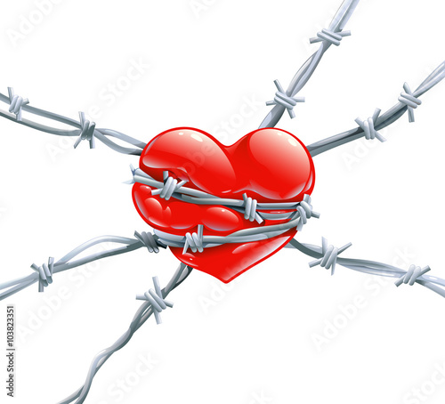 Red Heart With Highlights Wrap Enclosed In Barbed Metal Wire Symbol