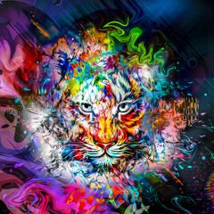 Яркий абстрактный красочный фон с тигром, всплесками краски, бабочками и цветками