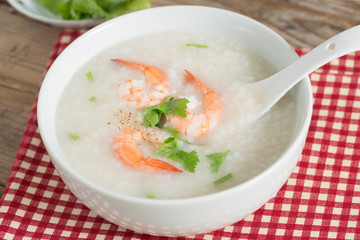 Rice porridge with shrimp.