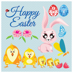 Big collection vector set of easter floral eggs, rabbit, chickens, butterfly