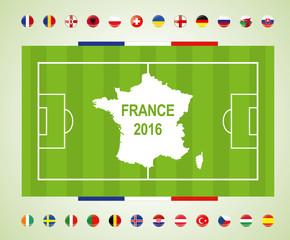 Fussballfeld Frankreich Euro 2016 mit Teilnehmer Länder