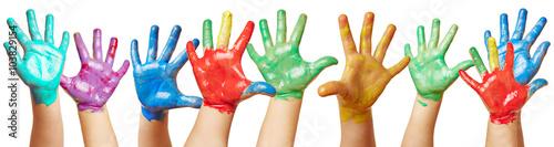 Fingerfarbe Weihnachten.Kinder Winken Mit Vielen Bunten Händen Stock Photo And Royalty Free