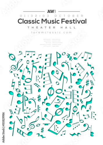 Music Poster Template Vector Flyer Background With Music Notes