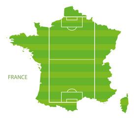 Frankreich als Fussballfeld Map Landkarte Vektor