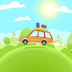 Summer Travel Illustration. Vector flat cartoon car
