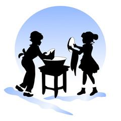 Children's friendship. Boy and girl wash dishes