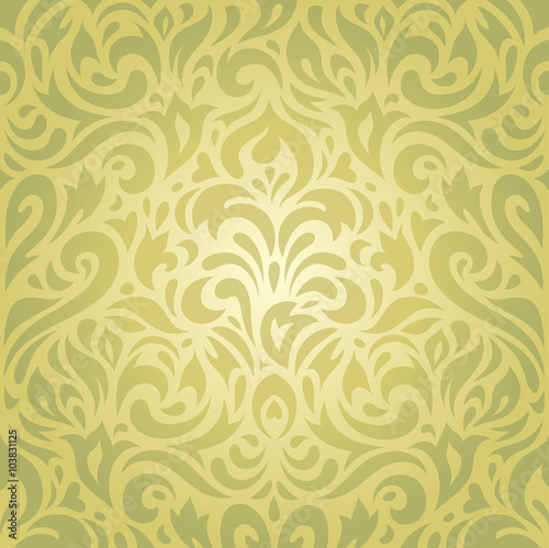 Floral Green Vintage Decorative Holiday Retro Wallpaper