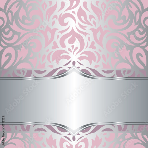 Floral Pink Silver Shiny Invitation Vintage Retro Vector