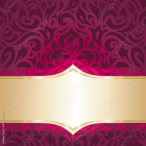 quotfloral red and gold luxury vintage decorative invitation