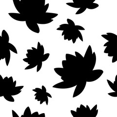 Seamless vector background with decorative water lilies. Print. Cloth design, wallpaper.