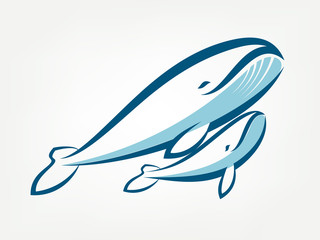 whale family vector symbol