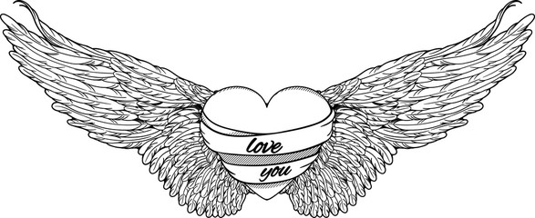 heart with big wings. black and white