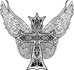 cross in celtic style with big wings