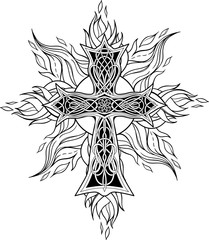 cross in celtic style with flames of fire