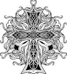 cross in celtic style with ribbons of fire
