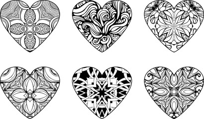 hearts filled with floral patterns