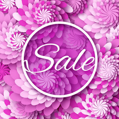 Abstract  Spring Summer Sale colorful banner for business. Applique Card with origami flowers. Offers message. Trendy Design Template.