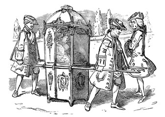 An engraved vintage illustration image of an old fashioned Georgian Sedan Chair with a lady passenger from a Victorian book dated 1883 that is no longer in copyright