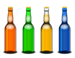 Four colorful beer bottles isolated on white