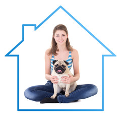 home concept - young beautiful woman sitting with pug dog isolat