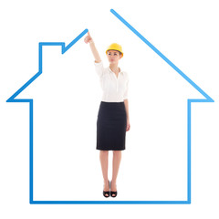 young business woman architect drawing house isolated on white