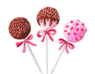 Hand-drawn cake pops. Pencil illustration on white isolated background