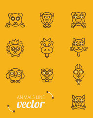 Animals outline vector. Flat style.