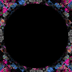 Black Background with Ornate Collage Pattern Frame