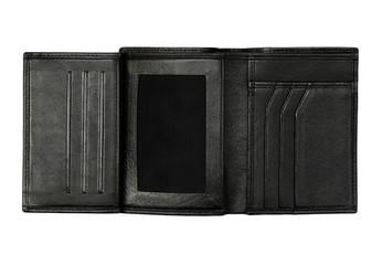 black wallet outstretched for showing card many slots (isolated