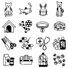 Pet animal care icons in black outline