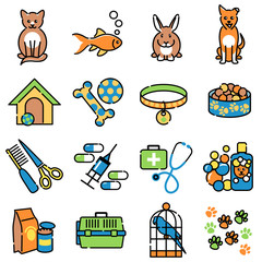 Pet animal care icons in colour