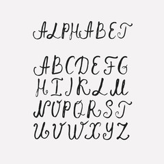 Vector Hand Drawn Font on white background. Letters written with a brush pen. Ink ABC. Handmade ABC font typography