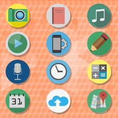 Icons set on an orange background