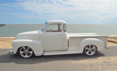 White 1952 pickup on show at Felixstowe seafront.