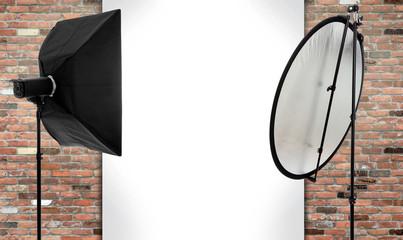 Fotostudio leer mit Freiraum für Model, Montage oder Bildmontage