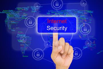 hand pressing internet security button on interface with world
