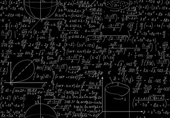 Beautiful mathematical vector seamless pattern with algebra equations, figures and plots. You can use any color of background