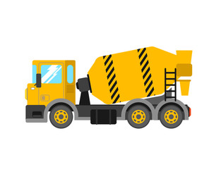 Construction cement mixer truck. Building concrete mixer car. De