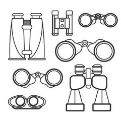 Binocular vector set. Zoom tool equipment military illustration.