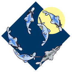 Cute cartoom watercolor capricorn illustration on blue background