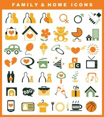 family and home icons set