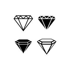 Brilliant icon set. Diamond gemstone sign. Vector illustration.